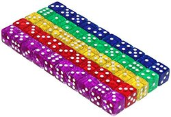 50 6-Sided Dice   16mm   5 Colors