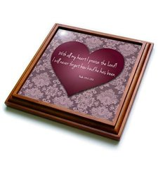 3dRose Vintage Valentine Heart in 3D with Psalm 103 Verse 2 on a Pink Lace