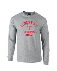 NCAA Illinois State Redbirds Mascot Block Arch Long Sleeve T-Shirt, X-Large, Sport Grey
