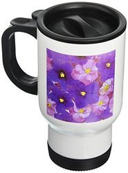 3dRose Floating Flower Design Stainless Travel Mug