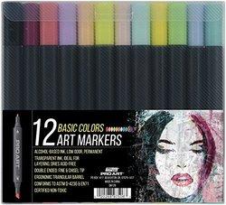 Pro Art 12 Color Graphic Art Marker Set, Basic Colors