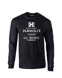 NCAA Hawaii Rainbow Warriors Stacked Vintage Long Sleeve T-Shirt, Small, Black
