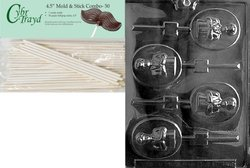 CybrTrayd Boy Communion Lolly Chocolate Candy Mold with 50 Lollipop Sticks