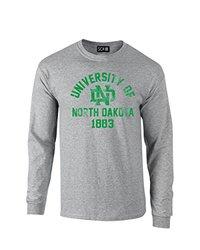 NCAA North Dakota Mascot Block Arch Long Sleeve T-Shirt, Medium, Sport Grey