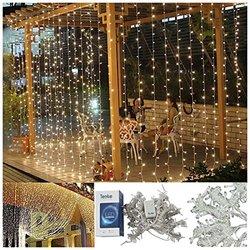 "Teeke 9.8""x9.8"" 304 Led Christmas Fairy Strings Curtain Light - Warm White"