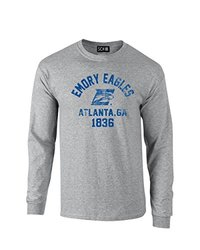 NCAA Emory Eagles Mascot Block Arch Long Sleeve T-Shirt, Small, Sport Grey
