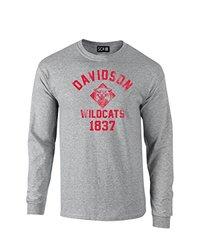 NCAA Davidson Wildcats Mascot Block Arch Long Sleeve T-Shirt, Small, Sport Grey