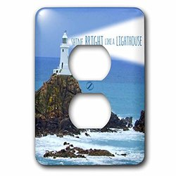 3dRose lsp_155658_6 Shine Bright Like A Lighthouse - Inspiring Motivational Motivating Nautical Word Saying Light House 2 Plug Outlet Cover