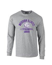 NCAA Western Illinois Leathernecks Mascot Block Arch Long Sleeve T-Shirt, XX-Large, Sport Grey