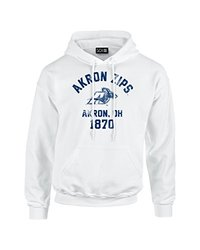 NCAA Akron Zips Mascot Block Arch Long Sleeve Hoodie, X-Large, White