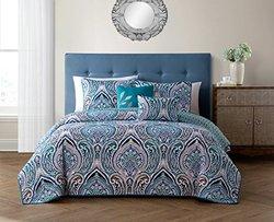 Vibrant Reversible 5-piece Quilt Sets: Queen/Adelle - Teal