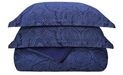 Superior 600TC Cotton Blend Paisley Duvet Cover Set - N Blue - Size: F-Q