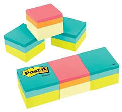 """Post-it 1 7/8 x 1 7/8"""" Notes Cube - Green and Canary Wave - 3 Count"""
