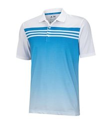 Adidas Climacool 3 Stripe Men's Gradient Polo Shirt - White/bahia Blue - L