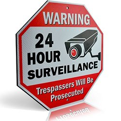 "Diamond ULTRA REFLECTIVE Warning 24 Hour Surveillance No Trespassing Metal Sign   with for home business Video Security CCTV Camera   12""L x 12""H Aluminum (12""x12"" Reflective"