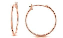 Solid 14K Rose Gold Elegant Hoop Earrings