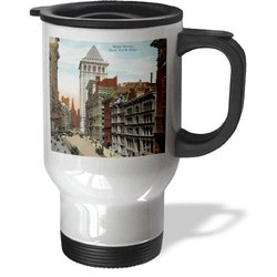 3dRose tm_163665_1 Image of 1912 Color Photo of Wall Street Travel Mug, 14-Ounce, Stainless Steel