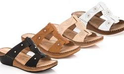 Lady Godiva Women 1277-1 Wedge Sandals - Black - Size: 9 M