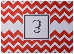 """Kess InHouse Kess Original """"Monogram Chevron Red Letter E"""" Feeding Mat for Pet Bowl, 18 by 13-Inch"""
