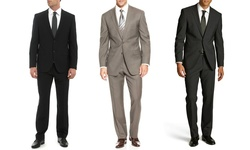 Umberto Bonelli Men's 2 Piece 2 Button Classic Fit Suit: Black-52rx46w