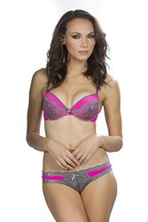 Women's Sexy Push Up Bra with Bikini and Thong Set of 3 ,Pink with Grey Lace size 34c