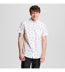 Mossimo Men's Botantical Print Shirt - White - Size: Small