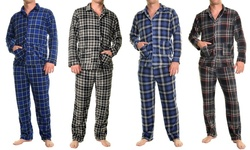Men's Cozy Fleece Pajama Set - Blue Checker - Size: xxl