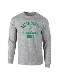 NCAA Delta State Statesmen Mascot Block Arch Long Sleeve T-Shirt, X-Large, Sport Grey