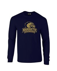 NCAA Marquette Golden Eagles Mascot Foil Long Sleeve T-Shirt, Large, Navy