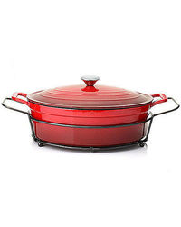 Cook's Companion 8Qt Cast Iron Oval Dutch Oven With Lid And Rack - Red