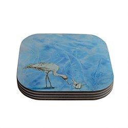 "Kess InHouse Kira Crees ""Crane"" Coasters Set of 4 - Blue/White"