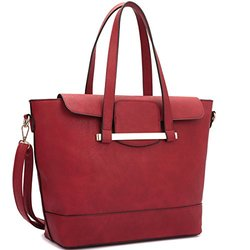 Dasein Paris Collection Tote With Satchel Handbags - Red/Taupe