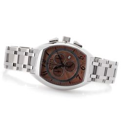 Men's Tonneau Swiss Quartz Chronograph Bracelet Watch - Silver/Copper