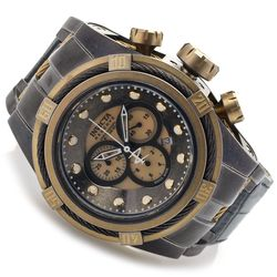 Men's 52mm Swiss Quartz Chorno Leather Strap Watch - Gunmetal/Goldtone