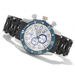 Men's 50mm Sea Spider Quartz Polyurethane Bracelet Watch -Silvertone/Blue