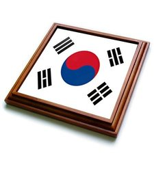 "3dRose trv_28259_1 South Korea Flag Trivet with Ceramic Tile, 8 by 8"", Brown"