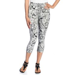Kate & Mallory Women's Knit Pull-on Capri Leggings - Lace - Size: Large