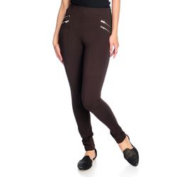 Women's High-Density Knit 4-Zipper Pull-on Leggings - Brown - Size: XL