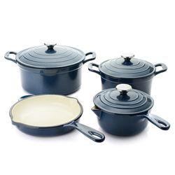 Cook's Companion 7-Piece Stick-Resistant Cast Iron Cookware Set - Navy