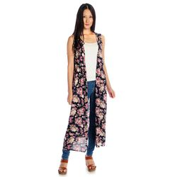 Indigo Thread Women's Woven Printed Open Front Duster - Navy Floral/XL