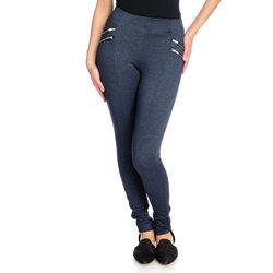 Women's High-Density Knit 4-Zipper Pull-on Leggings - Indigo - Size: XS