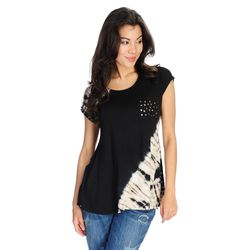 Indigo Thread Women's Knit Tie-Dye Embellished Pocket Top - Black/1X
