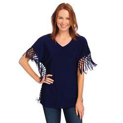 Women's Stretch Knit Sleeved Fringe V-Neck Top - Midnight - Size: XL