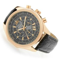 Invicta Men's 45mm World Navigator Quartz Chronograph Strap Watch - Black