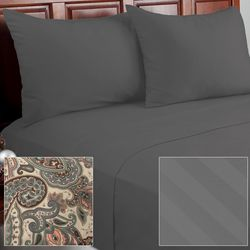 Cozelle 12Piece Solid/Striped/Paisley Microfiber Sheet Set - Platinum/King