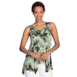 Indigo Women's Sleeveless Four-Point Hem Twist Back Top - Olive Tie Dye/XL
