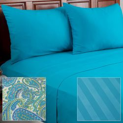 Cozelle 12pc Paisley Print Microfiber Sheet Set -Turquoise/California King