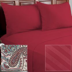 Cozelle 12-Piece Solid/Striped/Paisley Microfiber Sheet Set - Berry/King
