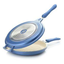 Cook's Companion Cast Aluminum Nonstick Flip-around Pan - Blue Steel
