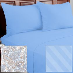 Cozelle 12Piece Solid/Striped/Paisley Microfiber Sheet Set - Serenity/Full